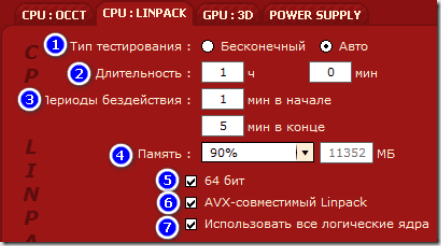 Тест CPU:LINPACK