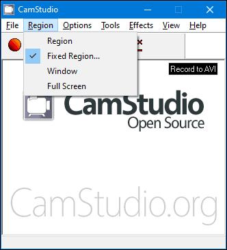 Fxed region в CamStudio
