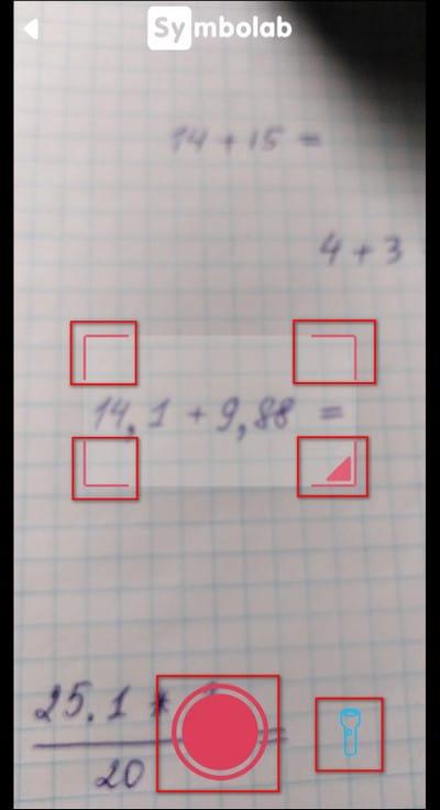 фотографирование примера в Symbolab