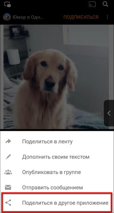 Поделиться в другое приложение
