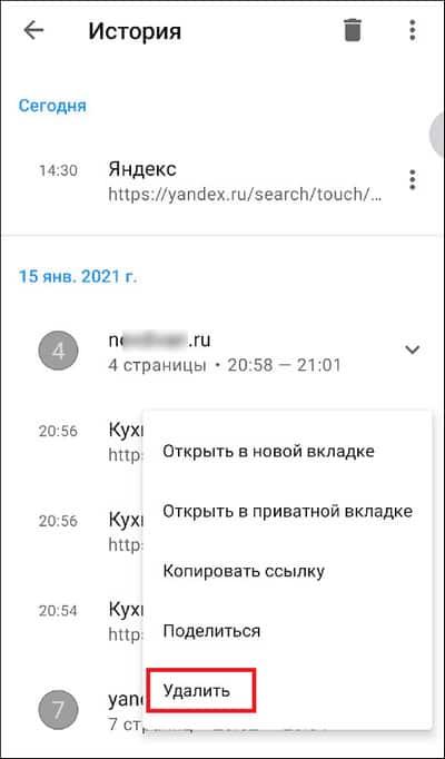 удаление одного сайта из истории