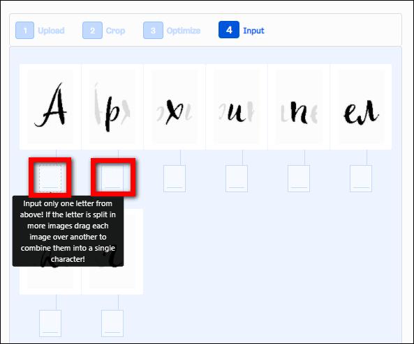 ввод соответствующих букв