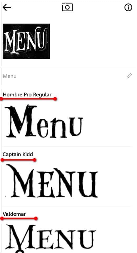 выбор нужного шрифта