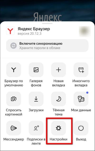 кнопка настройки в яндекс браузере