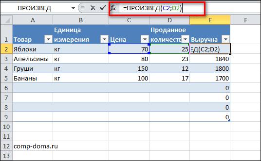 формула произведения в таблице Excel