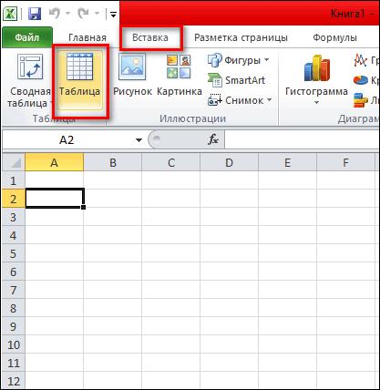 вставка таблицы через панель инструментов
