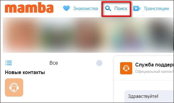 кнопка поиска в Mamba